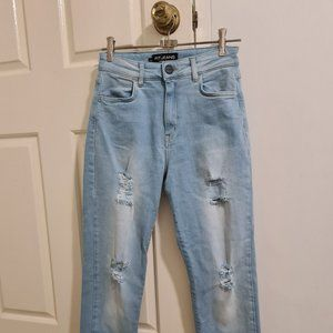 FitJeans High Waisted Ripped Mom Light Blue Jeans